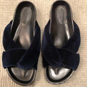 Chloe blue velvet flip flops